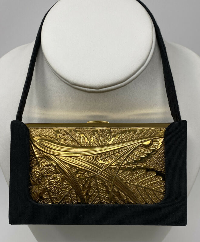 VTG OLD Art Deco ELGIN AMERICAN Gold Leaping GAZELLE COMPACT CARRYALL PURSE