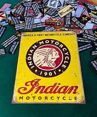 INDIAN MOTORCYCLE 1901 Tin Metal Sign Wall w/ FREE PATCH decor vintage garage