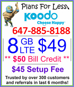 Koodo 8gb $49 LTE data plan UNLIMITED talk text + $50 credit