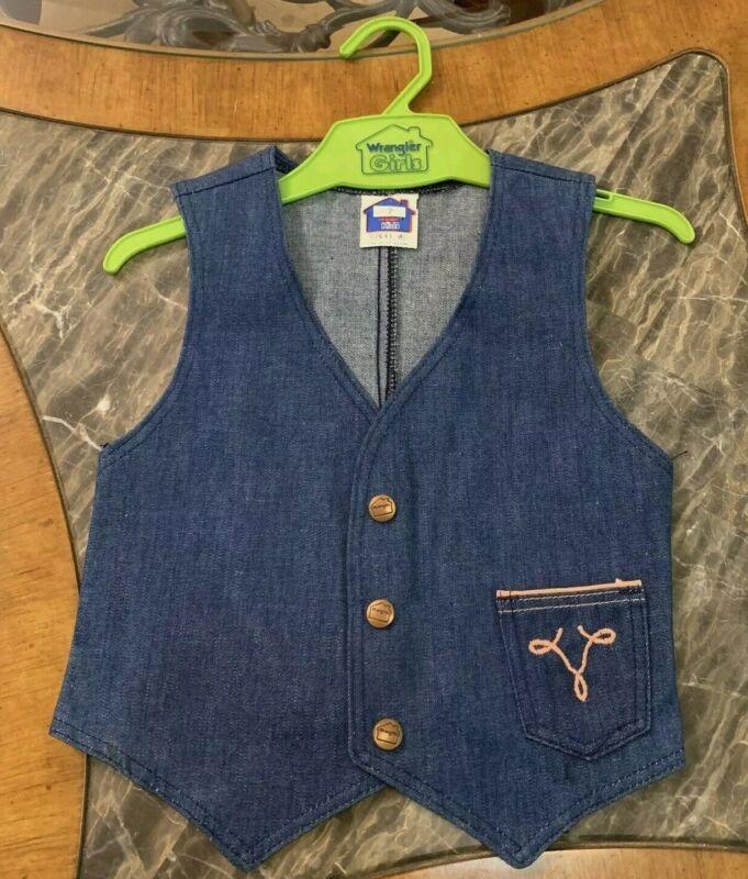 Vintage Girls Denim Vest Western Blue Jean Hippy WRANGLER 1970s NEW Sz 4 / 5