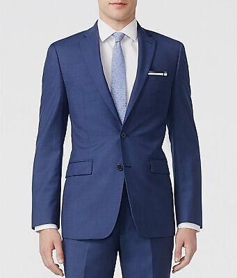 $564 Calvin Klein 40R Men's Blue Slim Fit Wool Jacket Suit Blazer *DAMAGED*