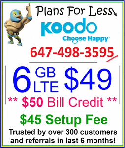 Koodo 1GB 6GB 8GB LTE data plan UNLIMITED talk text + $50 bonus