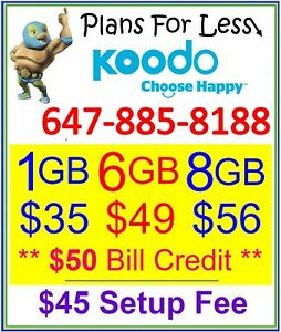 Koodo 6GB 8GB LTE Data UNLIMITED talk text plan + $50 Credit