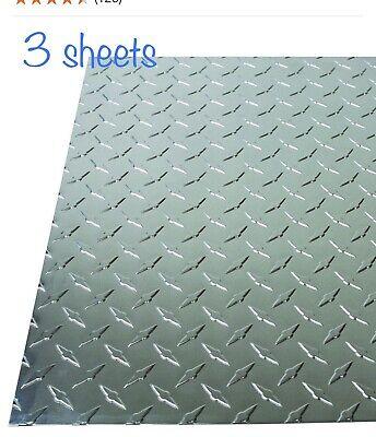 3 Pk 12 X 24 .025 Diamond Tread Aluminum Plate Polished Sheet