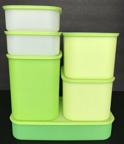 Tupperware Pak N Store Storage Containers 6 Piece Set Green