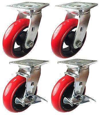 5 Heavy Duty Cast Iron Hub Non Skid Mark Round Wheel 2 Swivel 2 S W Brake