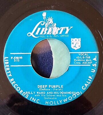 Vintage 1957 45 RPM Billy Ward & His Dominoes 'Deep Purple/Do It Again' Liberty - Purple Domino