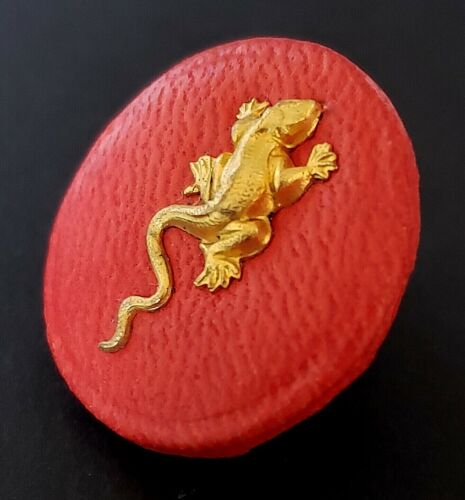 Vintage Couture Button…Red Leather with Metal Lizard…40