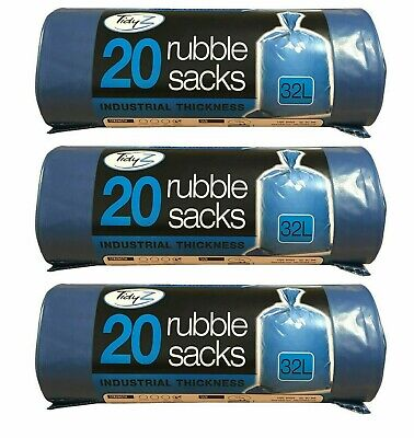 60 x Tidyz Heavy Duty Extra Thick Strong Waste Refuse Rubble Blue Sacks 32L