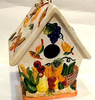 """CERAMIC BIRD HOUSE WITH AUTUMN COLORS / HARVEST 7"""" X 8"""" X 5.5"""" HANG OR SIT"""