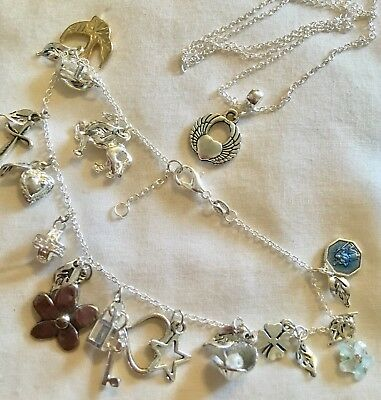 "10""Anklet(or)Bracelet fully Charmed(petal Flower)+pendant&925 20""chain/in A Box."