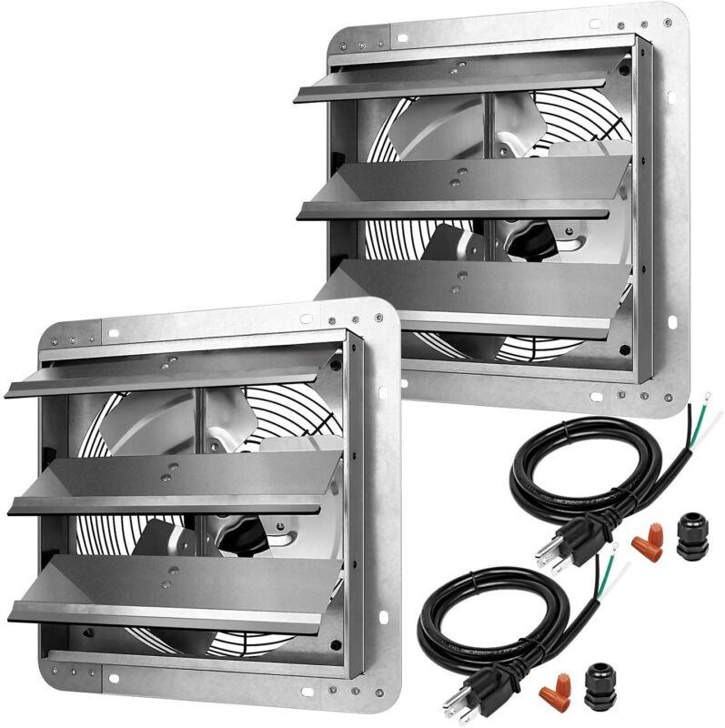 2-PACK iPower 12 Inch Shutter Exhaust Fan Aluminum High Speed 1620RPM 940CFM