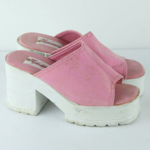 Vintage 90s No Excuses Chunky Heel Platform Sandals Pink Canvas 5.5 Shoes Slides