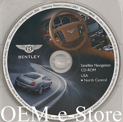 2004-2006 Bentley Continental GT Flying Spur GPS Navigation CD North Central Map