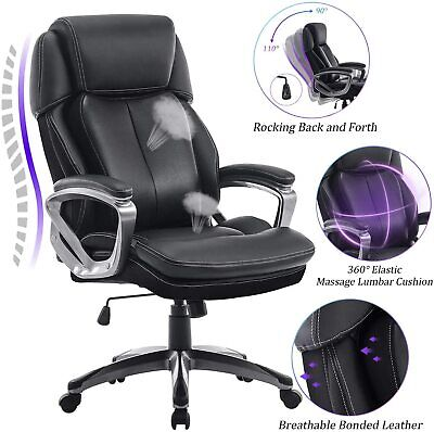 REFICCER High Back Bonded Leather Office Desk Chair - 360°Movable Lumbar Support