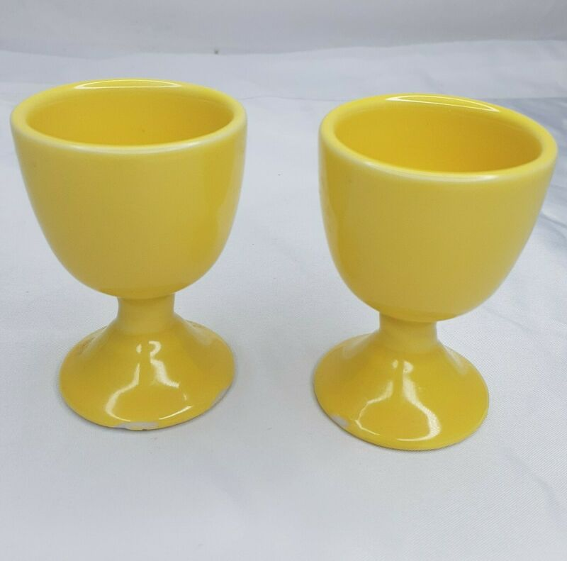 "Vintage Set of 2  Egg Cup Holder Yellow 2.75"" Tall Read Description"