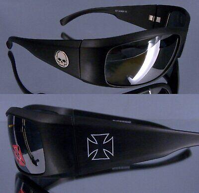 Bikerbrillen Skull und  Kreuz Symbol mattschwarz 400UV schwarz matt Biker Brille (Skull Sonnenbrille)