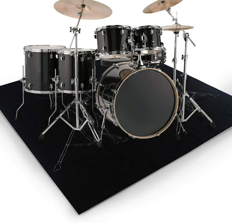 Drum Rug Non Slip Drum Mat Black 6ftX6.6ft