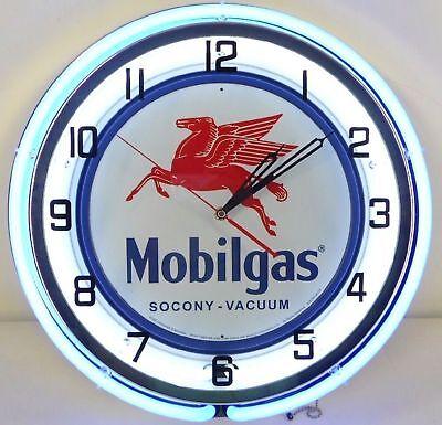 18  Mobil Mobilgas Socony Vacuum Pegasus Sign Double Neon Wall Clock