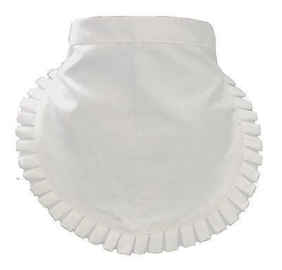 New Housekeeping Maid Waitress Uniform White Frilly Pleated Trim Waist Apron