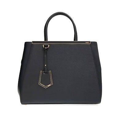 Fendi Women's 2 Jours Large Vitello Elite Leather Tote Bag, Black, MSRP $2,350