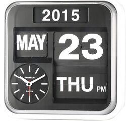 Fartech Retro Modern 17 Calendar Auto Flip Desk Wall Clock Vintage Box