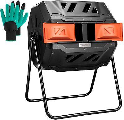 VIVOSUN Outdoor Tumbling Composter Dual Rotating Batch Compost Bin, 43 Gallon