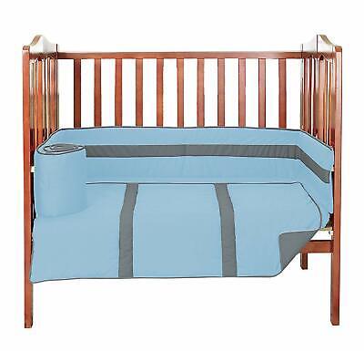 Baby Doll Solid Bedding Stripe 3 PieceMini Crib/Port-a-Crib Bedding Set, Light B Stripes Crib Baby Bedding