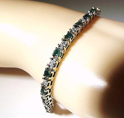 "14K Emerald and Diamond Tennis Bracelet 2.8 Carat, 10.8 Grams TW, 7"""