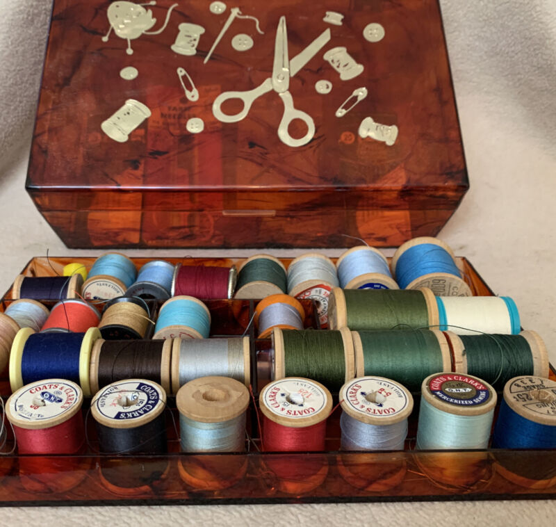 Vintage 1950's Amber Hard Plastic Sewing Box Sewing Notion Graphics & Contents!