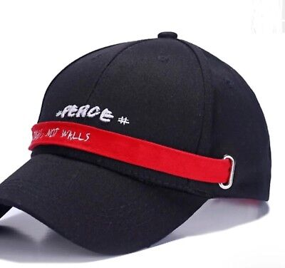 "Build Bridges - Embroidered Message ""PEACE, Build Bridges, Not Walls"" Long Band Baseball Cap"