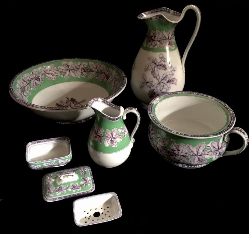 Set Pitchers Wash Basin Bowl Antique Porcelain Chamber Soap Dish Acorn Pattern