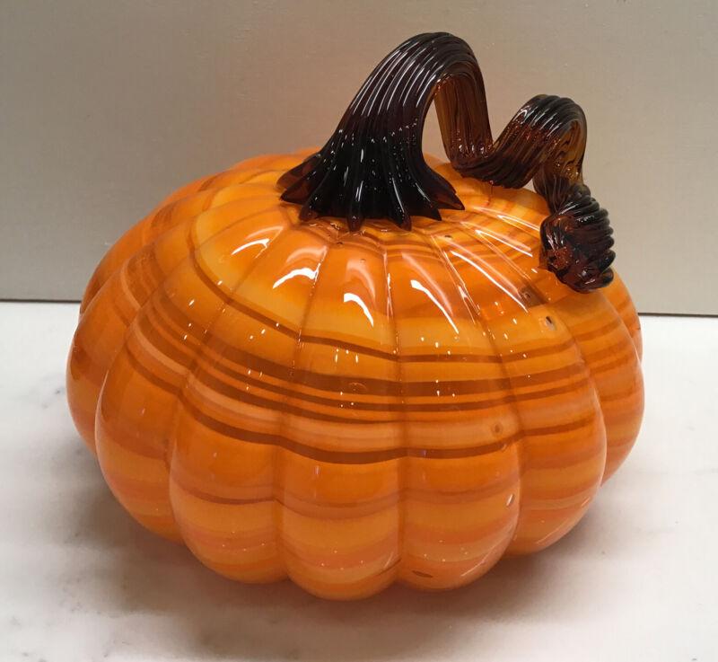 """Hand Blown Art Glass Orange striped Pumpkin Halloween Fall Thanksgiving 5 1/4"""" W"""