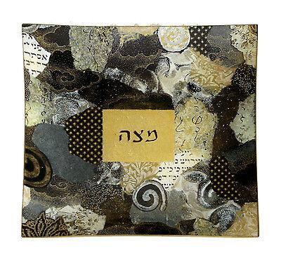 Passover, Artistic Decorative,Square Glass Matzah Plate,9.75