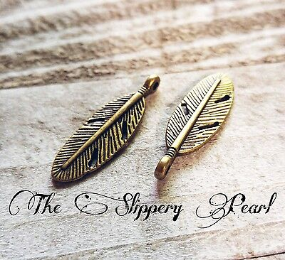 50 Feather Charms Pendants Antiqued Bronze 2 Sided Boho Findings BULK