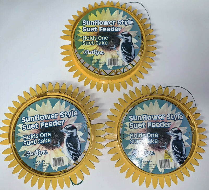 Set Of 3 Sunflower Hanging Suet Feeders Model 2587. Minor Dent/Dirt From Storage
