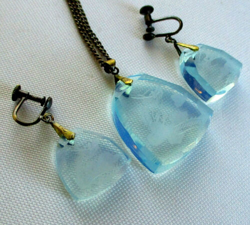 Vintage Etched Blue Glass Necklace and Earrings Set