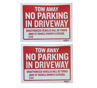 2pc Tow Away No Parking In Driveway Sign 9x12 Red Flexible Plastic - 2 Sing