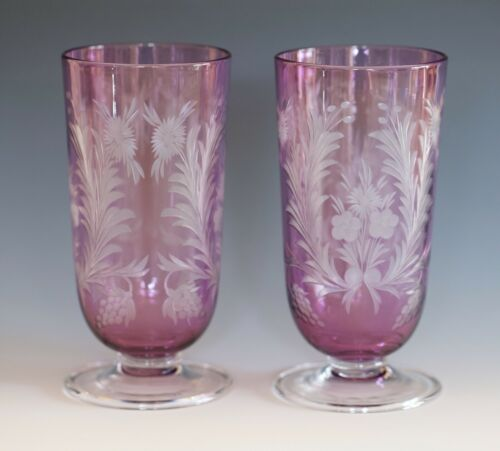 CARDER STEUBEN pair of Parfaits in Amethyst over colorless crystal - beautiful