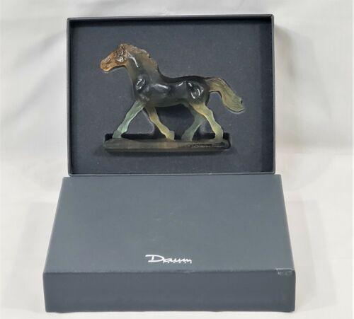 Daum France Horse Sculpture Trotteur Pate de Verre Green & Amber 02556-2 w/ Box