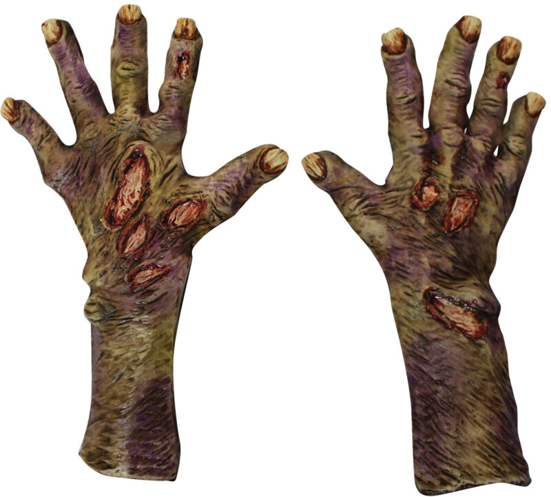 Zombie Rotted Large Latex Gloves Adult Unisex Costume Accessories