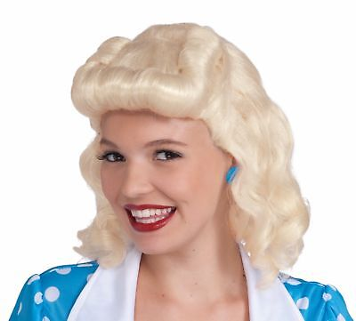 Blonde Bombshell Halloween Costume (40's Bombshell Lady Blonde Wig 1940's Housewife Retro Costume Accessory)