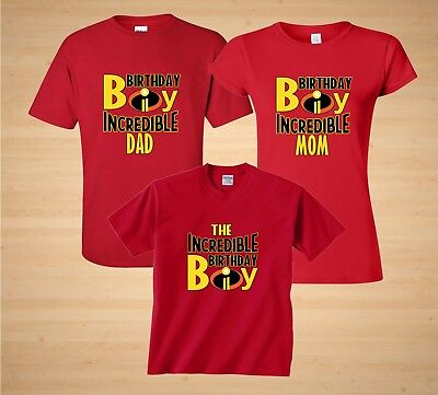 The Incredibles Disney theme Birthday Boy Family Birthday matching T-Shirts (Birthday Themes Adults)