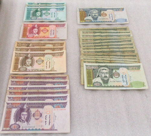 Mongolia $10 - $1000 Tugriks Lot of 27 Notes - Good Mix of Denominations