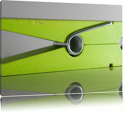 grüne Wäscheklammer Leinwandbild Wanddeko Kunstdruck - Leinwand Wäsche