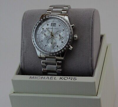 NEW AUTHENTIC MICHAEL KORS BRINKLEY SILVER CHRONOGRAPH WOMEN'S MK6186 WATCH