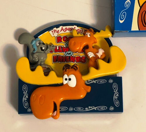 ROCKY and BULLWINKLE Refrigerator Magnet Set - 3 Piece Licensed Set - NIB