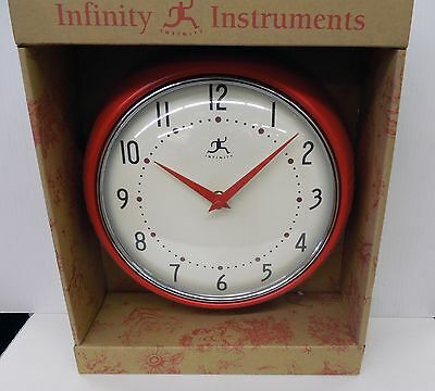 """INFINITY 8.5""""  RED WALL CLOCK  MODEL 10940-RED"""
