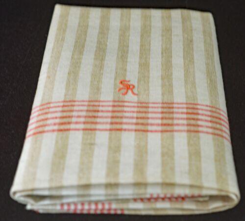 """Vintage Striped LINEN TOWEL with """"SR"""" Monogram"""