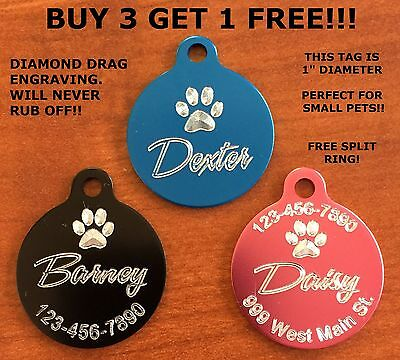 - Custom Engraved Paw Print Pet Tag Dog Cat ID SMALL PET (Choose from 10 Colors)